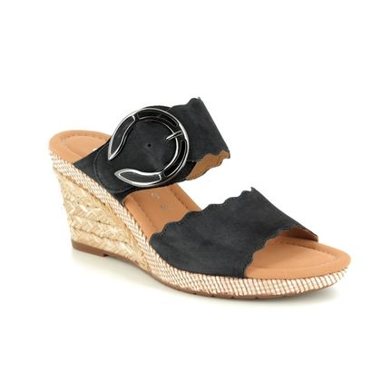 Gabor Wedge Sandals - Navy Suede - 22.829.26 KENT