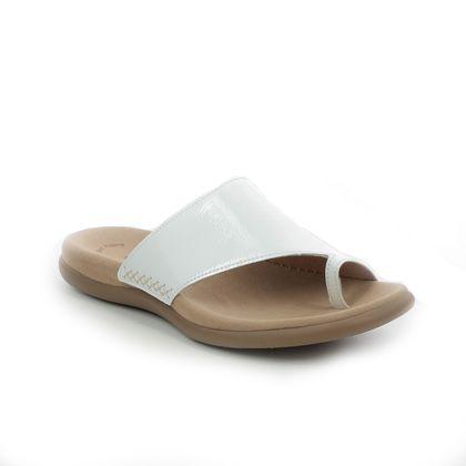 Gabor Toe Post Sandals - White patent - 63.700.91 LANZAROTE