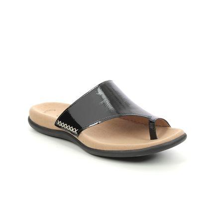 Gabor Toe Post Sandals - Black patent - 63.700.97 LANZAROTE