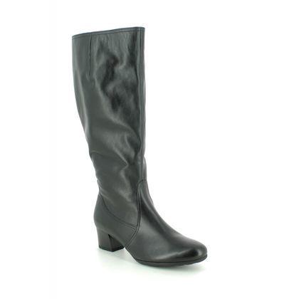 Gabor Knee High Boots - Black leather - 32.848.57 MADRID WIDE LEG