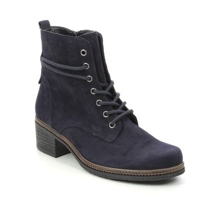 Gabor Lace Up Boots - Navy suede - 74.660.16 SOUL