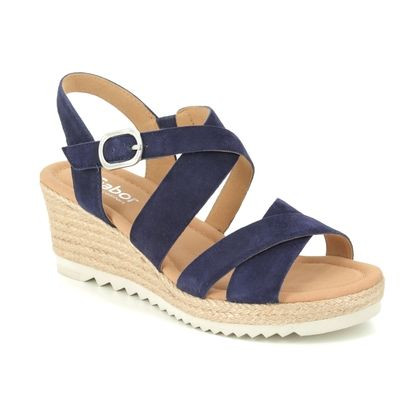 Gabor Wedge Sandals - Navy Nubuck - 42.832.36 TALBOT