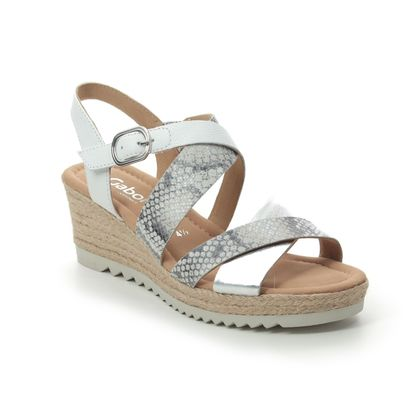 Gabor Wedge Sandals - White-silver - 42.832.40 TALBOT
