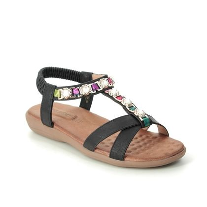 Heavenly Feet Flat Sandals - Black - 9130/30 AMBER