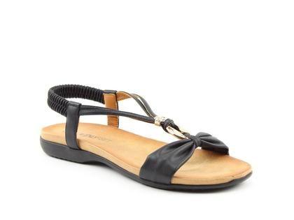 Heavenly Feet Flat Sandals - Black - 9115/30 CAMPARI