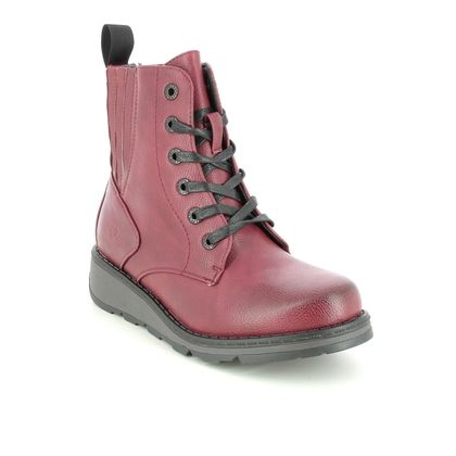 Heavenly Feet Lace Up Boots - Red - 1510/80 JOURNEY