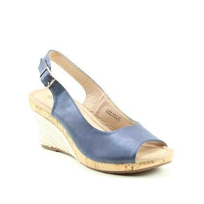 Heavenly Feet Slingback Shoes - Navy - 9121/70 LUNA