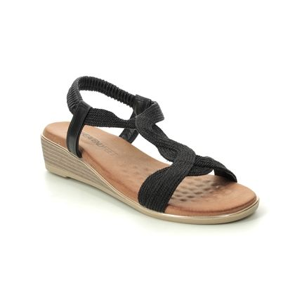 Heavenly Feet Wedge Sandals - Black - 0113/30 MARISOL