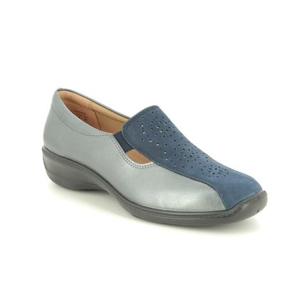 Hotter Comfort Slip On Shoes - Navy leather - 0101/70 CALYPSO 1 E FIT