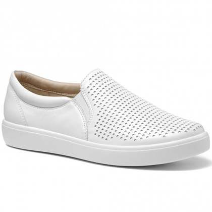 Hotter Comfort Slip On Shoes - White Leather - 0112/66 DAISY  E FIT