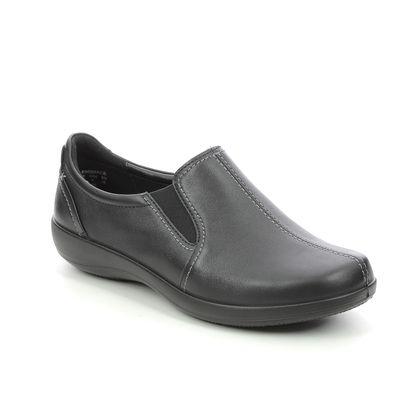 Hotter Comfort Slip On Shoes - Black leather - 9902/30 EMBRACE EX WIDE