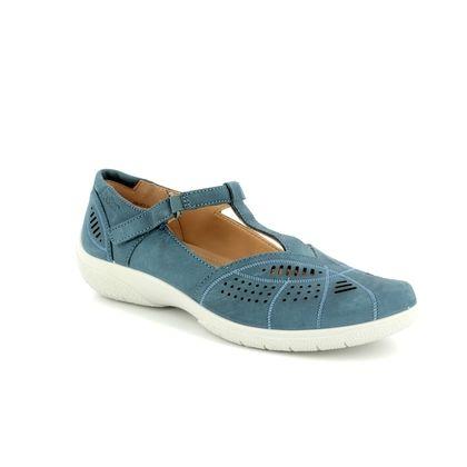 Hotter Comfort Slip On Shoes - Blue nubuck - 8104/72 GRACE E FIT