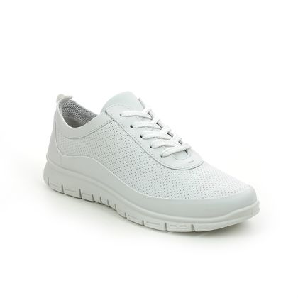 Hotter Comfort Lacing Shoes - White Leather - 9910/61 GRAVITY 2 STD