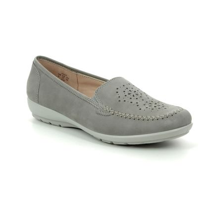 Hotter Loafers and Moccasins - Grey Nubuck - 9109/00 JAZZ   E FIT