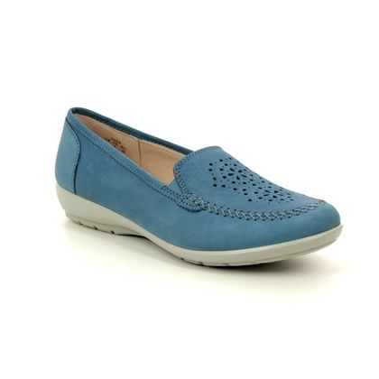 Hotter Loafers and Moccasins - Blue nubuck - 9109/72 JAZZ   E FIT