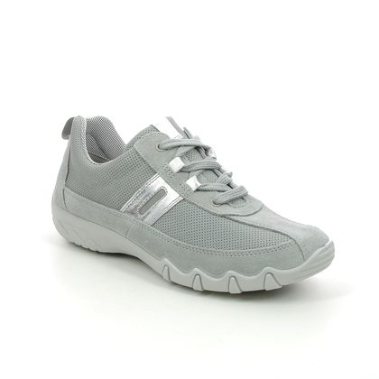 Hotter Comfort Lacing Shoes - LIGHT GREY SUEDE - 9912/03 LEANNE 2 WIDE