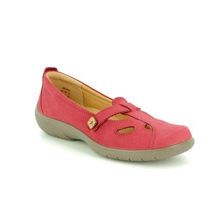 Hotter Comfort Slip On Shoes - Red nubuck - 8105/80 NIRVANA E FIT