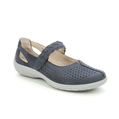Hotter Mary Jane Shoes - Navy Nubuck - 9904/70 QUAKE 2 WIDE