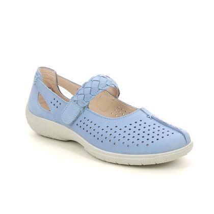 Hotter Mary Jane Shoes - Blue nubuck - 9904/75 QUAKE 2 WIDE