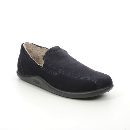 Hotter Slippers and Mules - Navy suede - 8516/73 RELAX