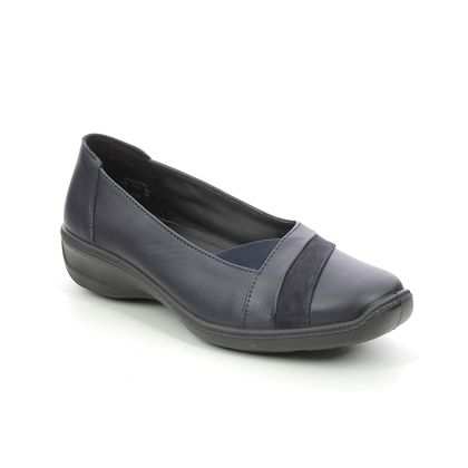 Hotter Comfort Slip On Shoes - Navy Leather - 9903/70 SERENITY WIDE