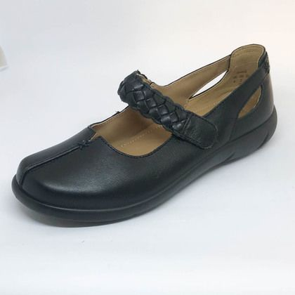 Hotter Mary Jane Shoes - Black leather - 9108/30 SHAKE  E FIT
