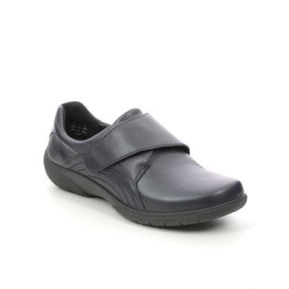 Hotter Comfort Slip On Shoes - Navy leather - 9511/71 SUGAR  2 WIDE