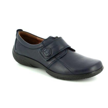 Hotter Comfort Slip On Shoes - Navy Leather - 7203/70 SUGAR