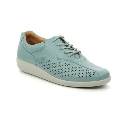 Hotter Comfort Lacing Shoes - Aqua leather - 9106/72 TONE   91 E FIT