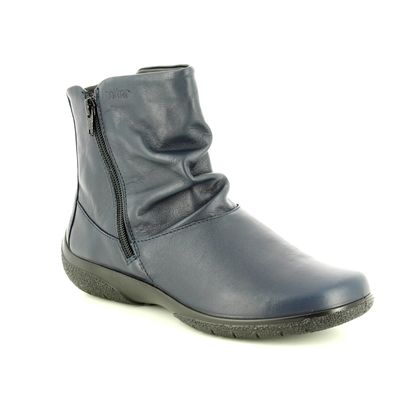 Hotter Fashion Ankle Boots - Navy Leather - 8507/70 WHISPER E FIT