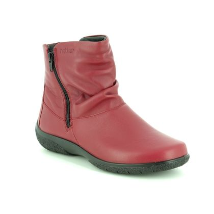 Hotter Fashion Ankle Boots - Red leather - 8507/80 WHISPER E FIT