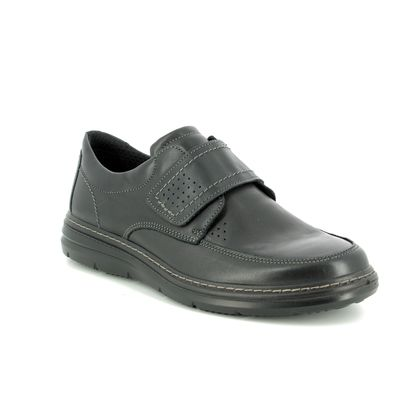IMAC Casual Shoes - Black leather - 1920/2290011 BELFAST WIDE FIT VELCRO