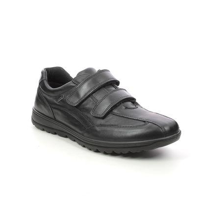 IMAC Mens Velcro Shoes - Black leather - 1698/2290011 RELAY  VEL TEX