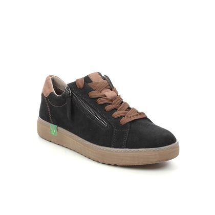 Jana Comfort Lacing Shoes - Black tan - 23780/27039 DURLO VEGAN WIDE