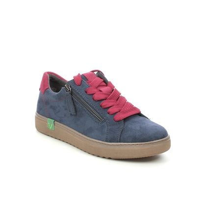 Jana Comfort Lacing Shoes - Navy Red - 23780/27889 DURLO VEGAN WIDE
