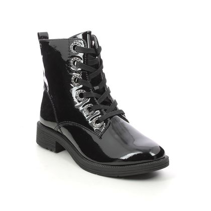 Jana Lace Up Boots - Black patent - 25264/27018 SUNALKIRK WIDE