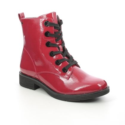 Jana Lace Up Boots - Red patent - 25264/27505 SUNALKIRK WIDE