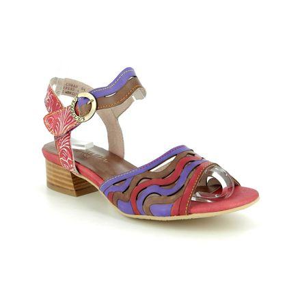 Laura Vita Heeled Sandals - Red multi - 9105/85 FLORA 04