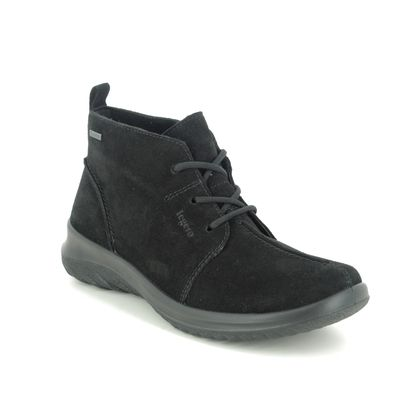Legero Lace Up Boots - Black Suede - 2009569/0000 SOFT LACE GTX