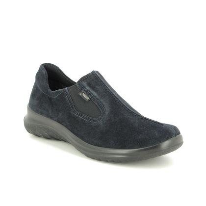 Legero Comfort Slip On Shoes - Navy Suede - 09568/80 SOFT SHOE GTX