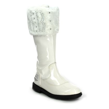 Lelli Kelly Girls Boots - White patent - LK3644/DA01 VALERIE HIGH