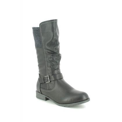 Lotus Knee High Boots - Black - ULB113/30 ADRIANA