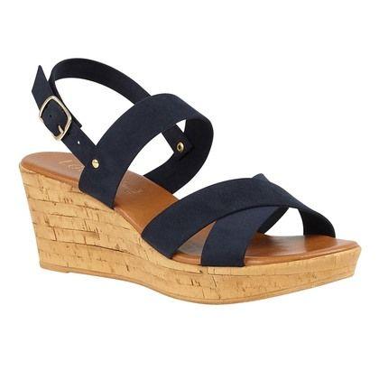 Lotus Wedge Sandals - Navy - ULP075/70 ANGELICA