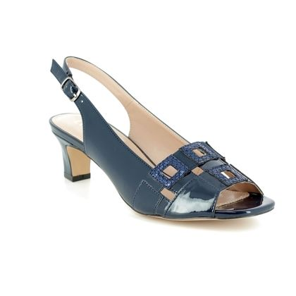 Lotus Heeled Sandals - Navy Patent-Suede - 50901/70 AUBREY