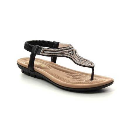 Lotus Flat Sandals - Black - ULP011/32 DELIA