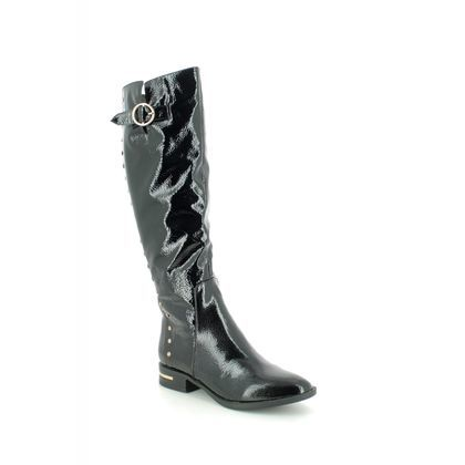 Lotus Knee High Boots - Black patent - ULB097/40 ESTELLE