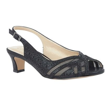 Lotus Heeled Sandals - Black Glitz - ULS178/30 GLINDA