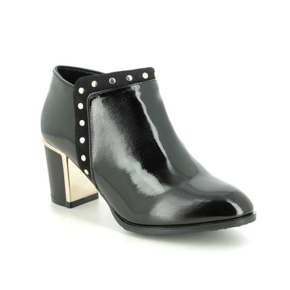 Lotus Heeled Boots - Black patent - ULS228/30 JOEY   CHLOE