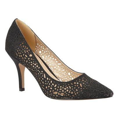 Lotus Heeled Shoes - Black Glitz - ULS209BB/46 LENA