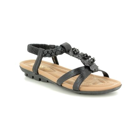 Lotus Flat Sandals - Black - ULP013/30 MARGARITA